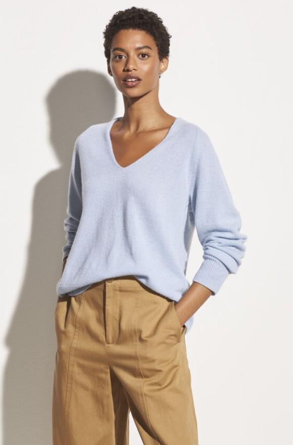 Kaschmir-Woll-Pullover mit V-Ausschnitt