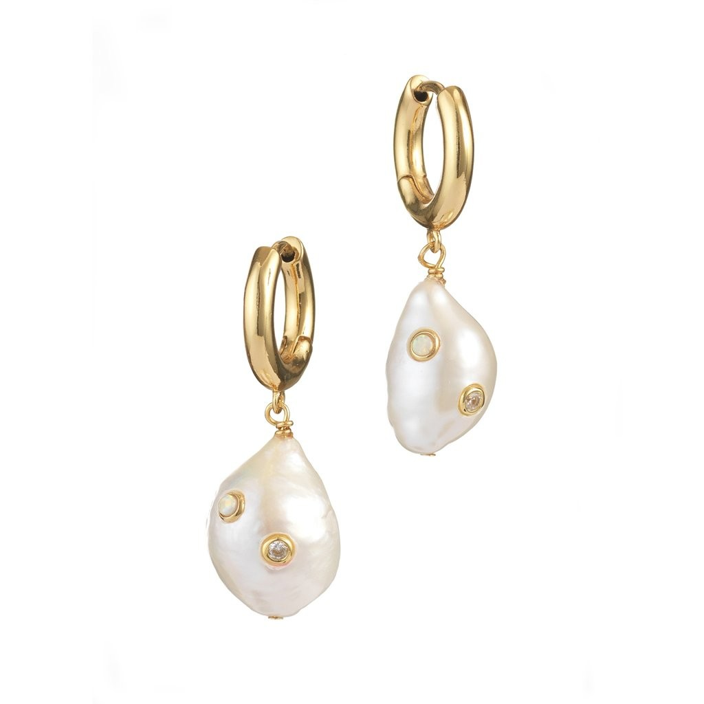GERTRUDE PEARL HOOP EARRINGS