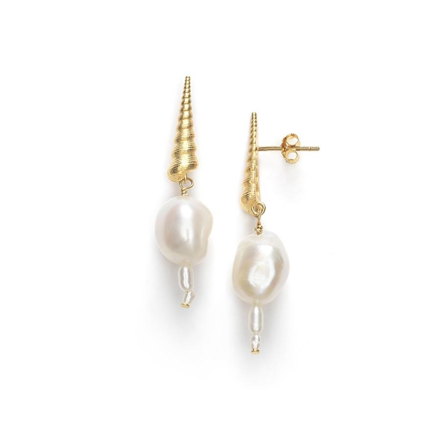 Turret Shell Baroque Pearl Ohrringe