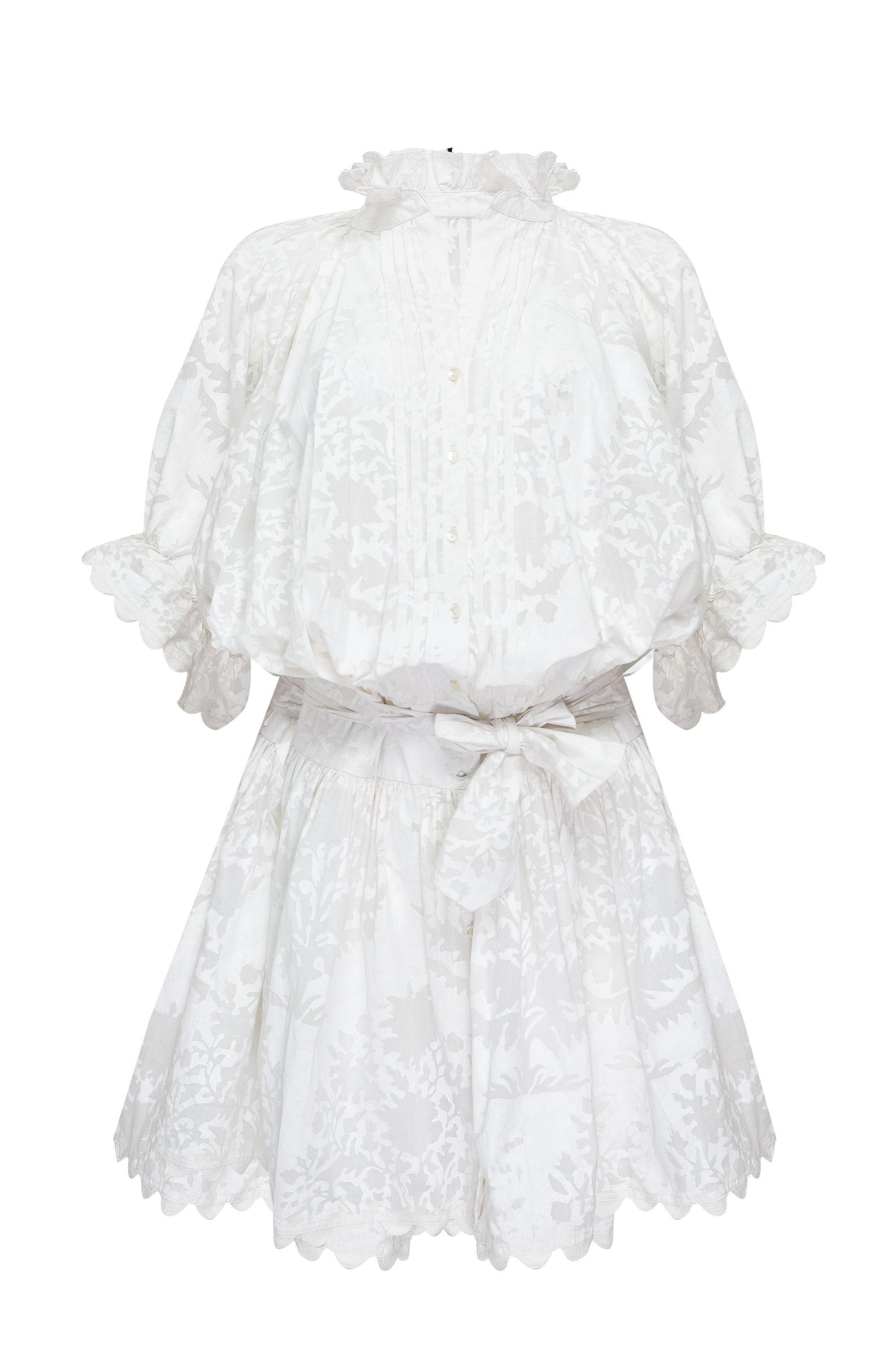 Minikleid aus Baumwolle und Voile mit Blockdruck