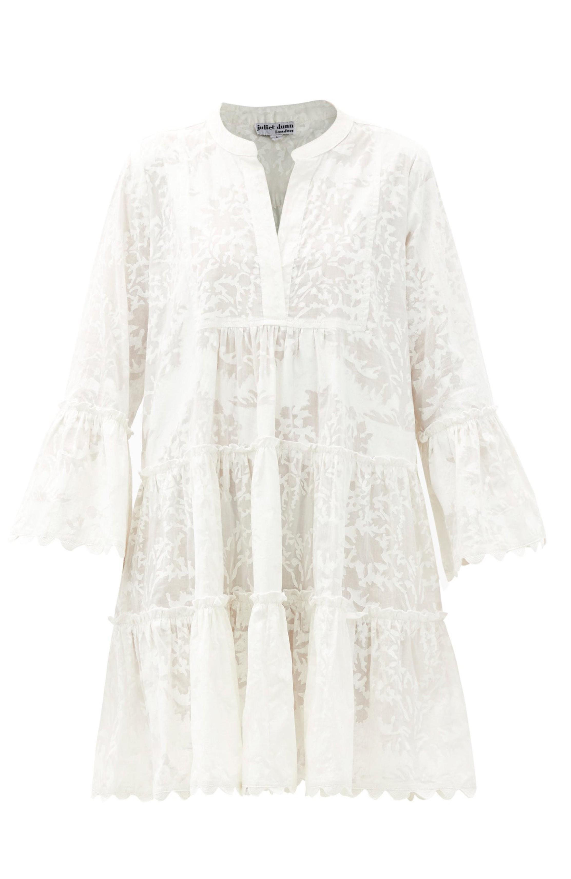 Palladio-Baumwollkleid mit geriffeltem Ärmel und Blockdruck