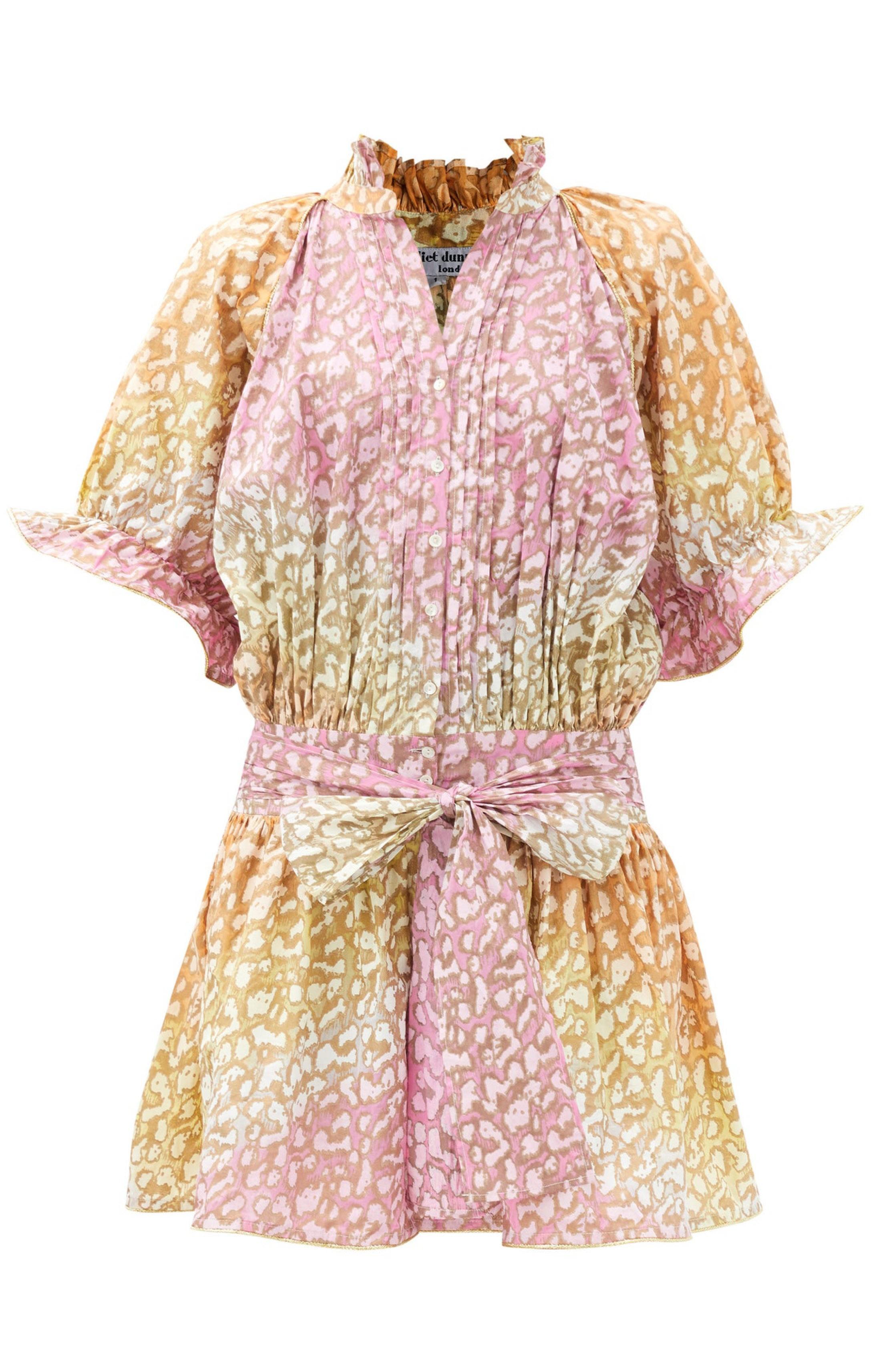 Snow Leopard Batik-Minikleid aus Baumwolle und Voile