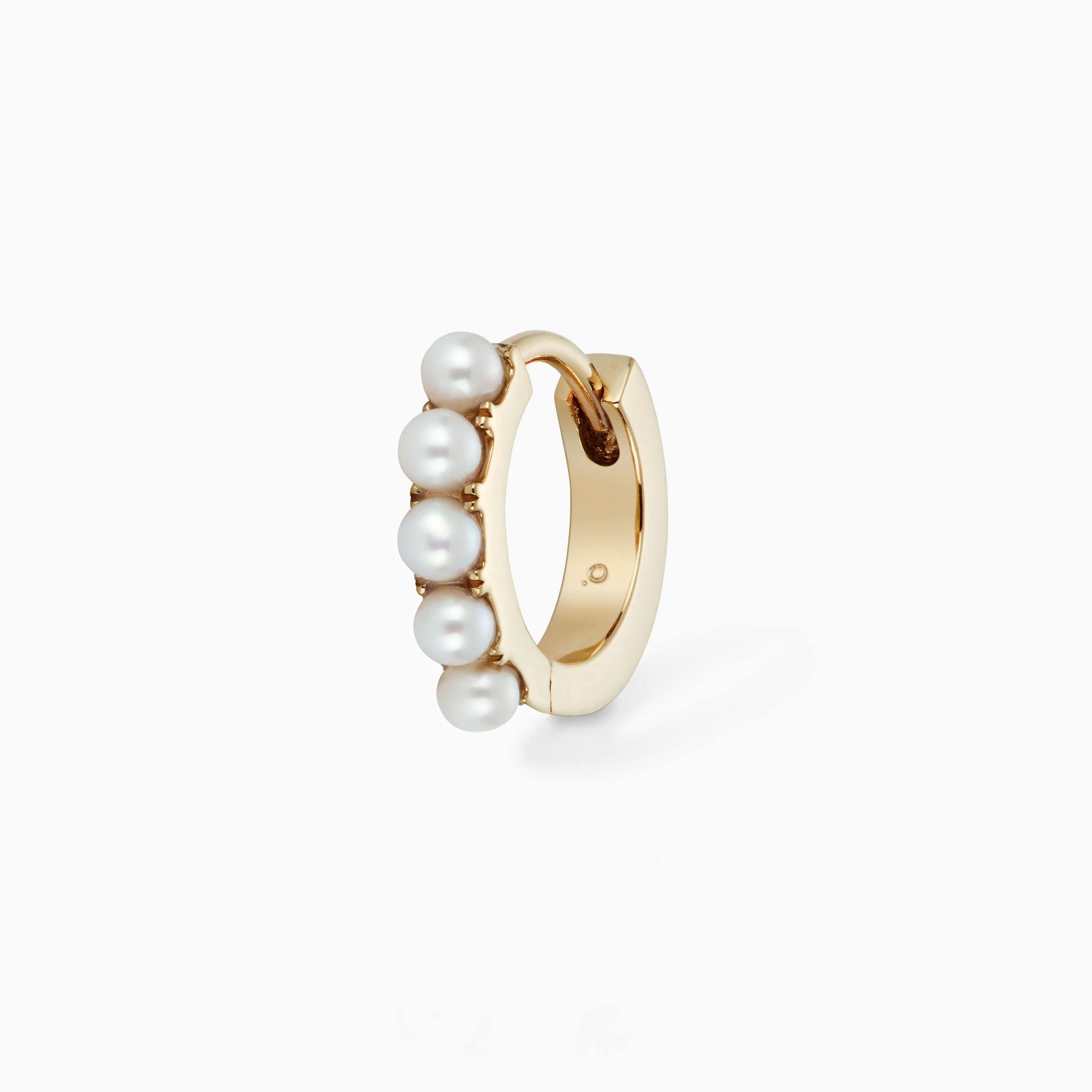 Perlen Huggie Hoop Medium 9-karat echt Gelbgold
