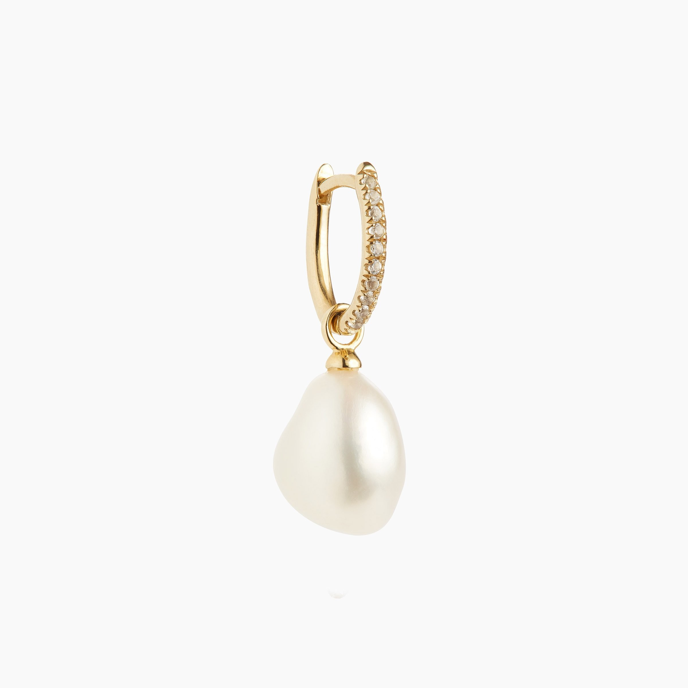Mini Oval mit weißen Topaz & Perlen Charm